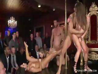 Porn Tube of Kagney And Her Girlfriends Are The Pole Dancing Entertainment At A Bachelor Party