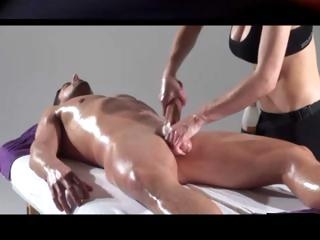 Porno Video of Dude Gets An Oiled Up Massage And She Gives His Cock Some Rubbing