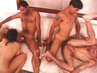 Porn Tube of Foursome With Bisexual Dudes Banging Pussy And Sucking Cock