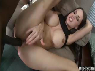 Sex Movie of Brunette Cougar Landlord With Big Melons Gets Her Rent From His Big Black Boner