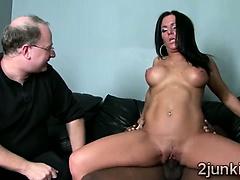 Big boobed brunette makes husband watch how her twat gets split | Big Boobs Update