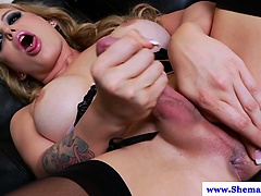 Blonde shemale nadia alexandra wanks off | Big Boobs Update