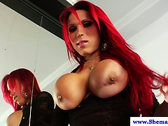 Busty big cock tranny erika schinaider jerks off | Big Boobs Update