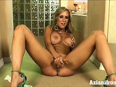 Aziani iron brandi love strips off her dress then plays with her large pussy lips with dildo | Big Boobs Update