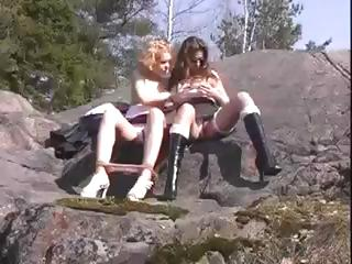 Porn Tube of Slutty Russian Teens Natia And Olga Fondle Each Other Outdoors Then Have A Threesome