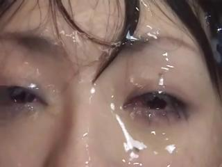 Sex Movie of Asian Girl Is Covered With Cum And Can Still Open Her Eyes