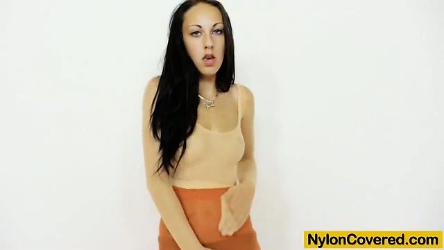 Teen first timer wears nylon mask and nylon pantyhose on