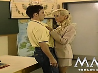 Lascivious blonde teacher seducing her student in class | Pornstar Video Updates