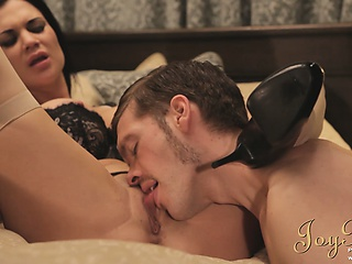 Rich guy screwing his gorgeous brunette girlfriend