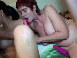 Old threesome with toys, young Girl