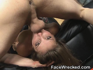Brunette Amateur Girl Getting Her Throat Totally Wrecked