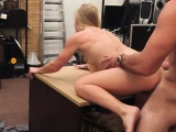Small tits blonde sells her car and fucked in the pawnshop