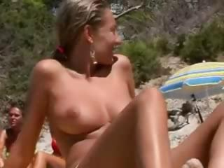 Porn Tube of Voyeur Films A Natural Big Breasted Nudist Beach