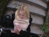 Picked up czech babe gives public blowjob
