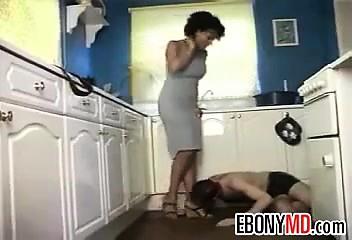 Ebony Femdom Being Worshipped By A Slave