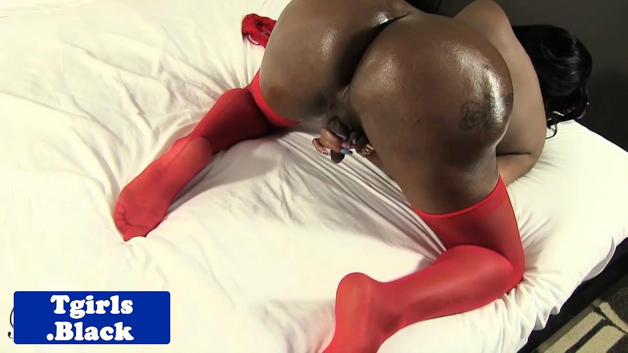Stockings ebony shemale plays with her cock