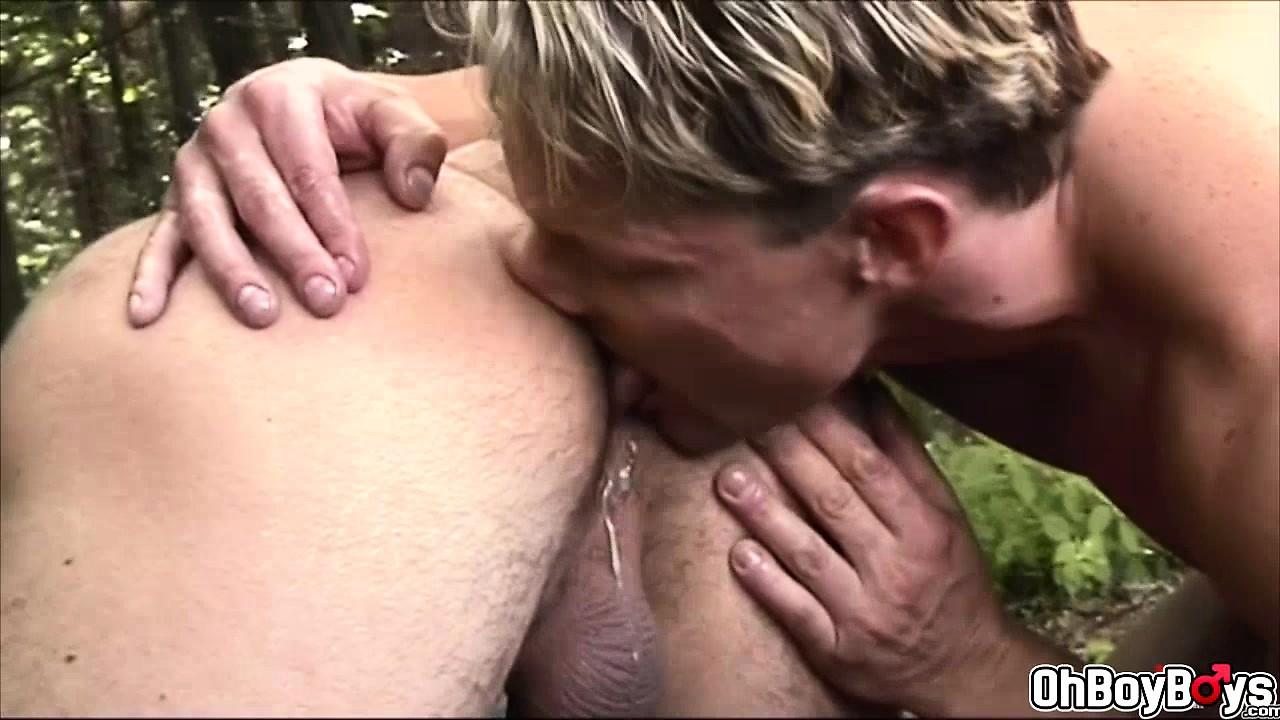Public gay blowjob and anal bareback