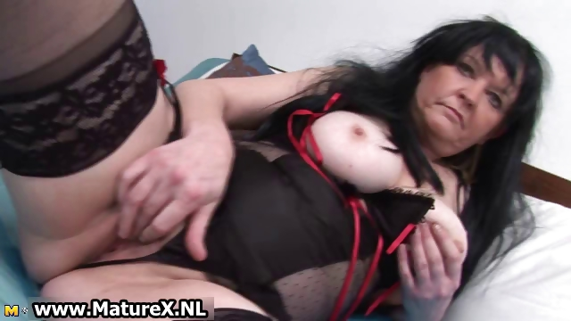 Porno Video of Brunette Granny With Big Tits Loves