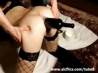Porno Video of Extreme Anal Wine Bottle Fucked And Fisted Amateur