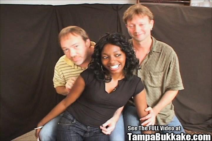 Ebony princess Denea interracial bukkake