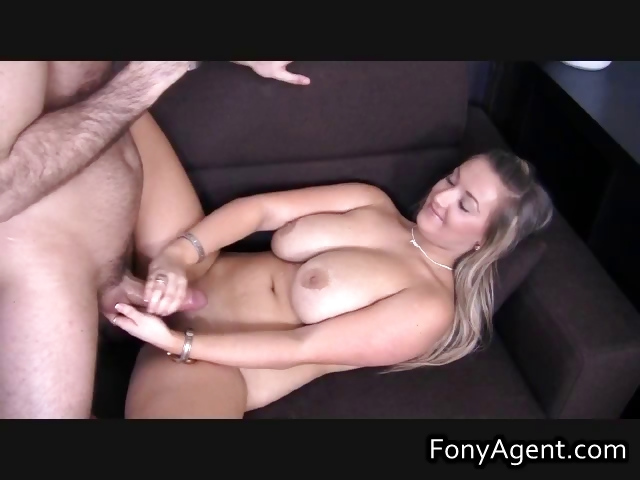 Porno Video of Busty Blond Jerking Off Some Fine Cock