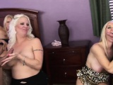 3 Platinum blond cougars go naughty with 2 big fat cocks