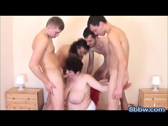 BBW Russian Mom Gangbanged by 4 Guys