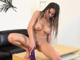 big breasted blonde rachel roxx relishes her time with a purple dildo