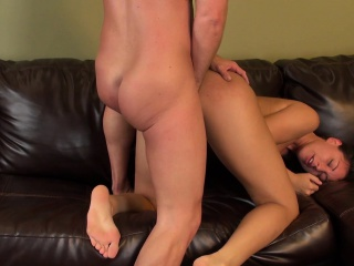 buxom brunette rilynn rae gets pumped, blows and goes doggy style