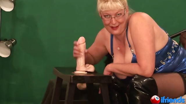 Porn Tube of Bbw Blonde Sucks & Fucks A Dildo