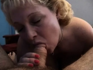 naughty blonde housewife with big breasts gives a hot blowjob in pov