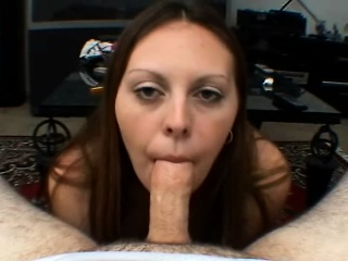 lustful babe with big natural breasts sucks and strokes a cock in pov
