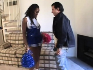 young ebony cheerleader drops her pompoms and her knickers to suck cock and get her sweet snatch licked