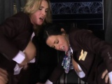 Uniformed femdoms pussypounded in fourway