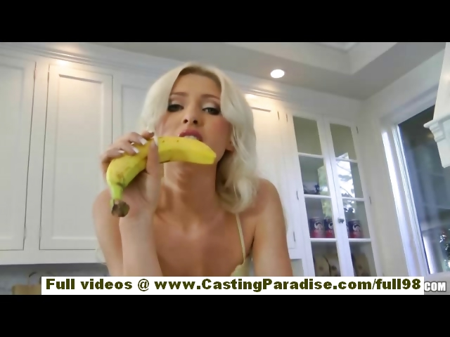 Porno Video of Layden Sin Stunning Blonde Girl Toying Pussy With Banana