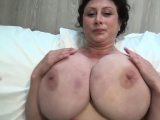 HORNY COUGAR GOES NAKED TO SHOW HER HUMONGOUS PAIR OF MELONS