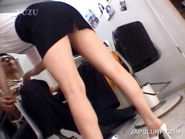 Porn Tube of Asian Hairdresser Showing Undies Upskirt