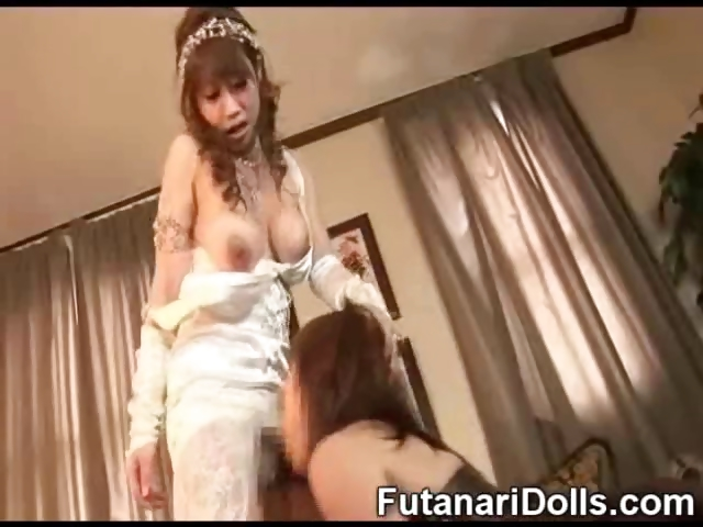 Porno Video of Futanari Bride Cumming!