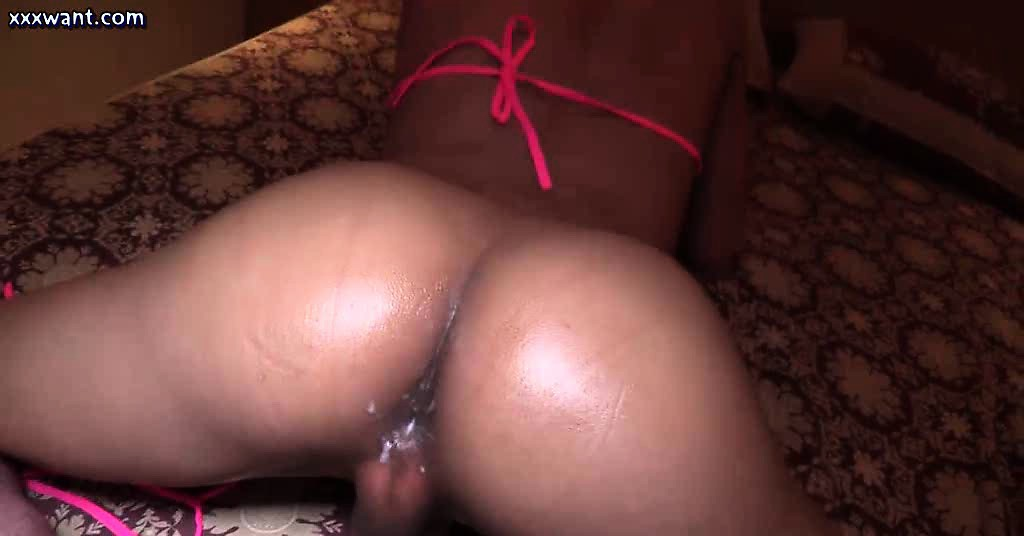 Shemale slut gets ass banged in bedroom