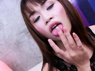 Shorty Thai ladyboy Nat A masturbates and explodes gooey cum