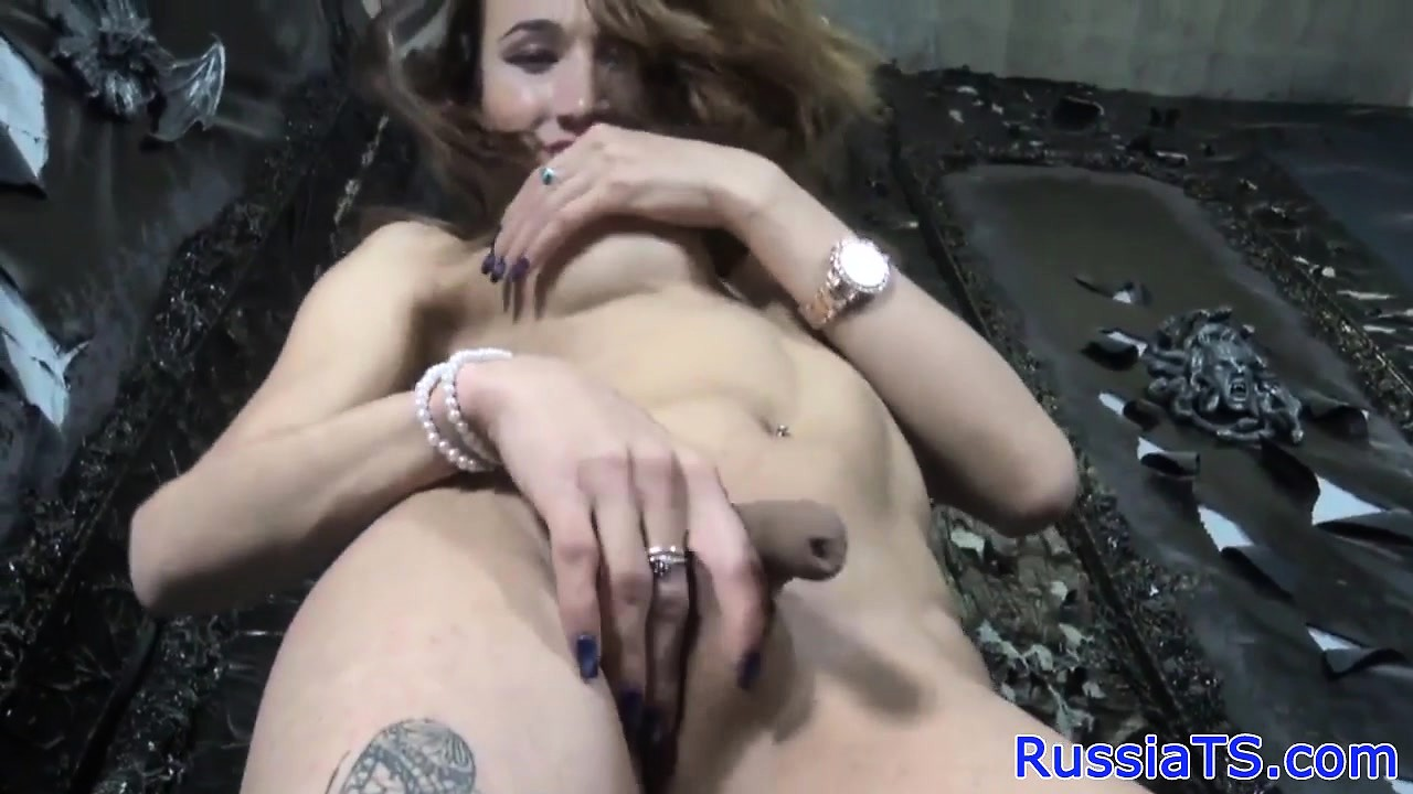 Real russian shemale toys her ass with dildo