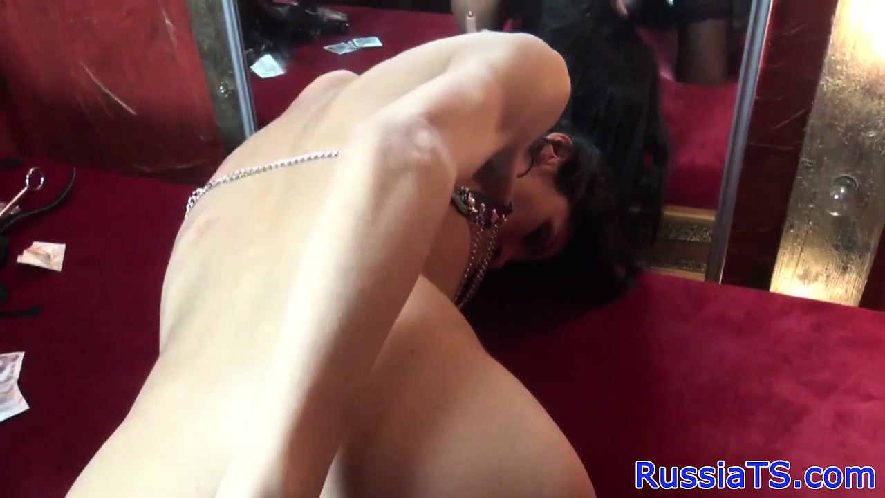 Russian leather tranny toys her tight ass