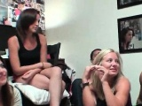 College babe sucks dick in dorm room gangbang
