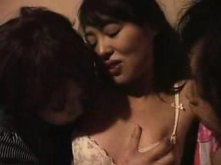 Three enchanting Japanese girls indulge in passionate lesbi