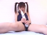 Hot Hina teases in swimsuit and plays with toys on her pussy