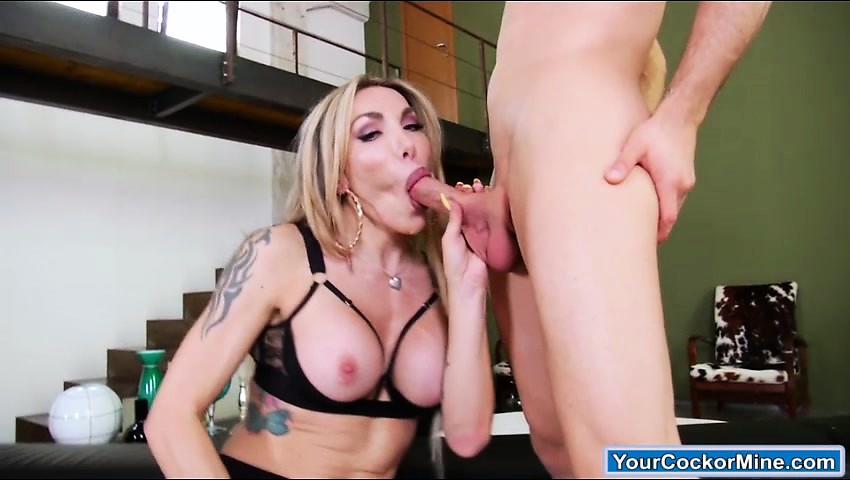 Busty shemale Eva Paradis is dick sucked and anal fucks guy