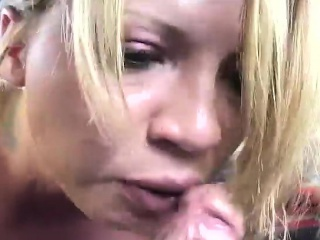 sexy blonde worships a fat dick and takes a hot load on her big boobs