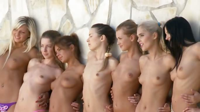 Porn Tube of Seven Daintily Hot Babes Stripping