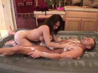 alluring brunette masseuse with big hooters strokes jack's long prick
