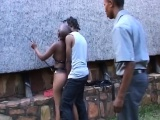 Bald ebony chick gets tied and fingered by a horny dude
